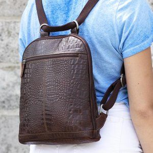 Genuine Leather Crossbody Boho Backpack Purse Tote